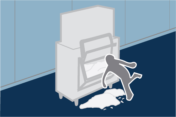 illustration of person slipping on wet floor