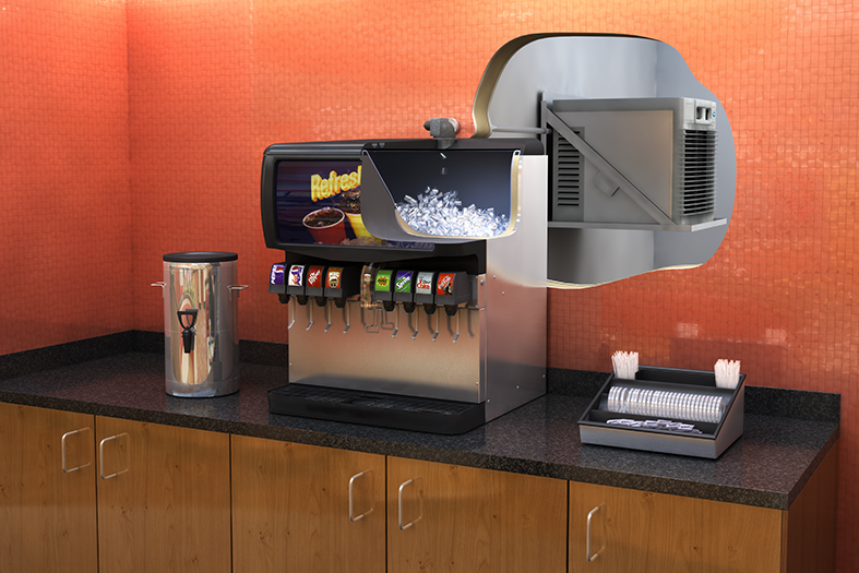 Horizon ice machine with RIDE filling beverage dispenser