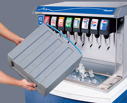 manually loading ice into Vision ice and beverage dispenser