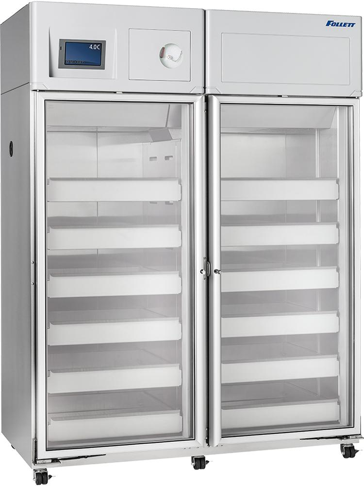 Follett double door blood bank refrigerator