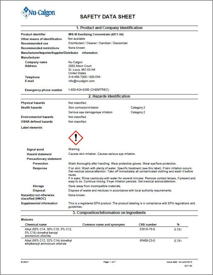 IMS-III safety data sheet