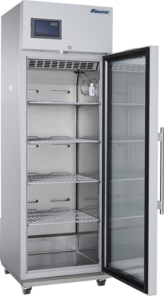 12 cubic foot medical grade refrigerator with open door