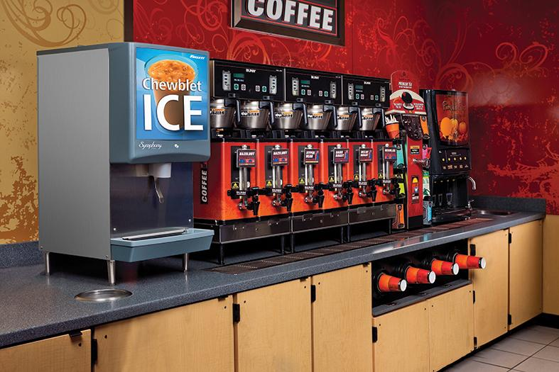 Symphony Plus ice and water dispenser in coffee bar