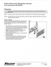 Cleaning Instructions, Undercounter Refrigerators