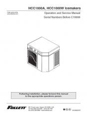 HCC1000A and HCC1000W Ice Machines for serial numbers before C19999