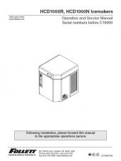 HCD1000R, HCD1000N Ice Machines for serial numbers before C19999